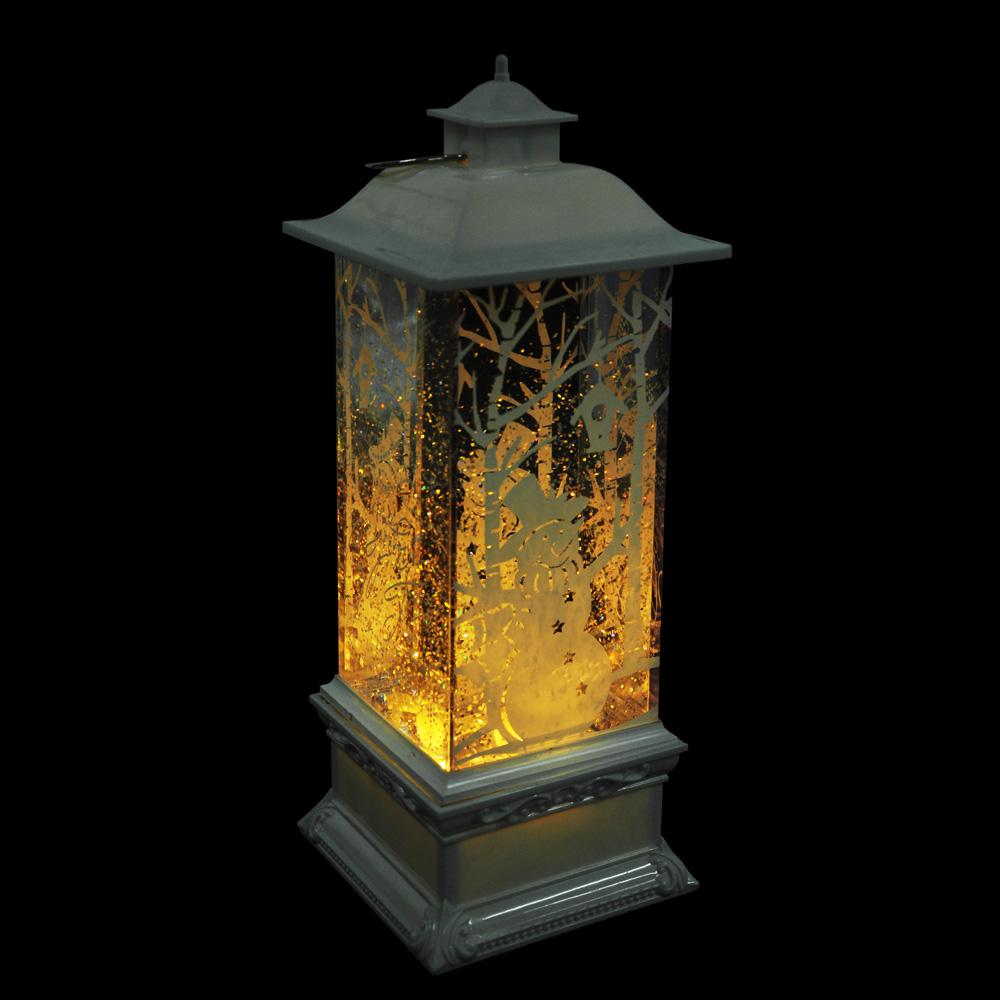 СНОУ БУМ Светильник LED с водой и блестками, пластик, в виде фонаря, 27х10х10 см, 3хАА