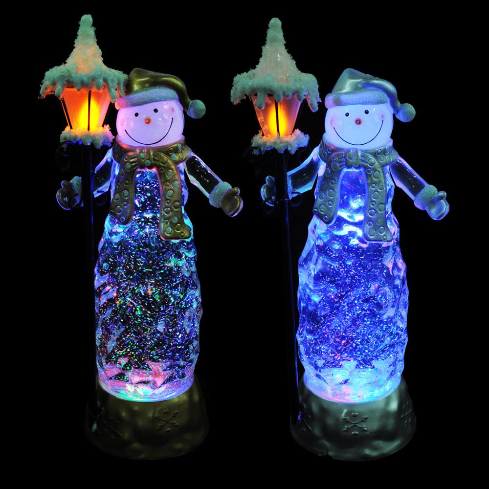 СНОУ БУМ Светильник LED снеговик с фонарем, с водой и блестками, пластик,30,5х9,3 см,3хААА,2 цвета