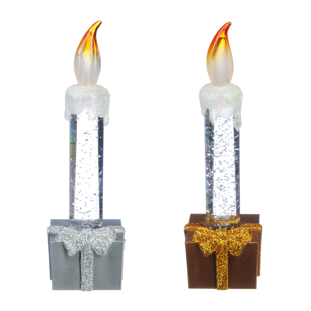 Светильник LED с водой и блестками, пластик, в виде свечи, 15х4х4см, 3xAG10, 2 цвета