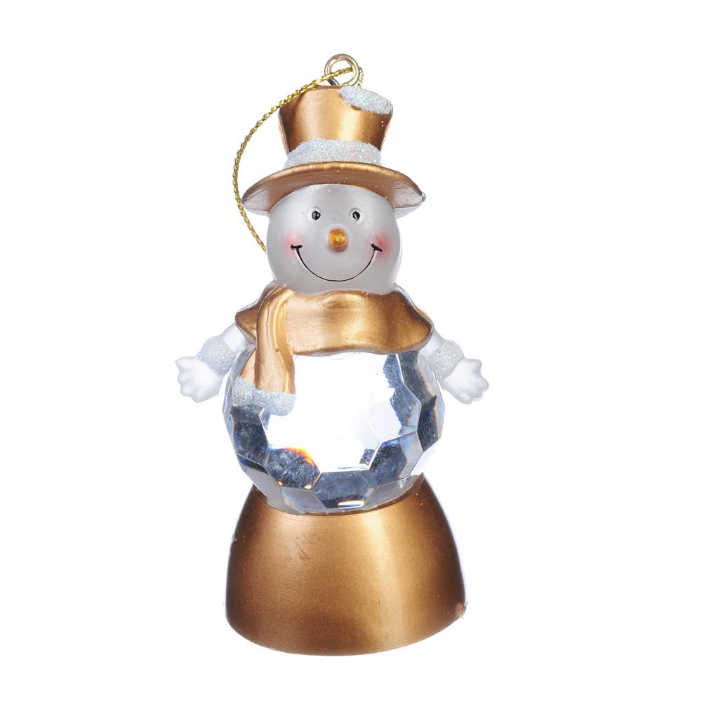 Светильник СНОУ БУМ LED с водой и блестками, пластик, в виде снеговика, 8х4 см, CR2032, 2 дизайна