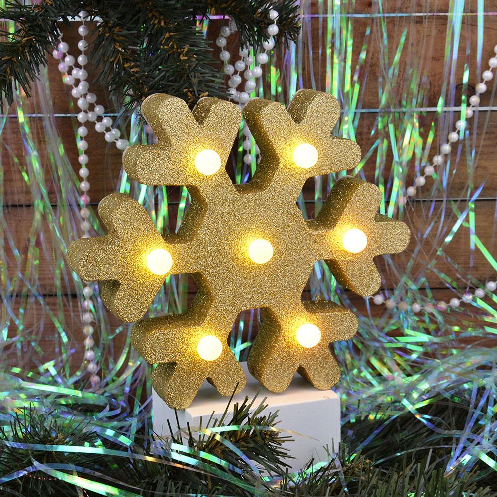 СНОУ БУМ Светильник LED с глиттером, МДФ, пластик, в виде снежинки, 20,5х18х4,6см, 2хААА , 2 цвета.