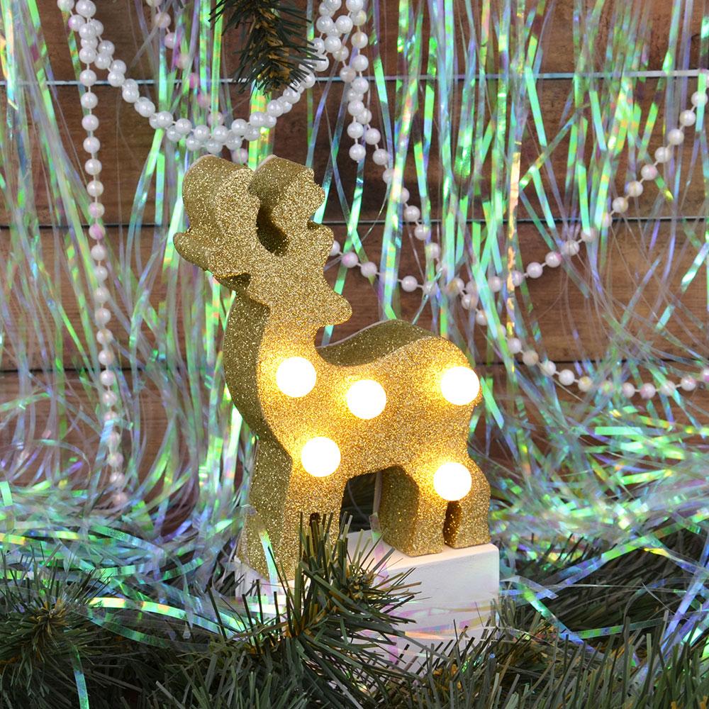 СНОУ БУМ Светильник LED с глиттером, МДФ, пластик, в виде оленя, 9,7Х4,3Х15,8 см, 2хААА , 2 цвета.