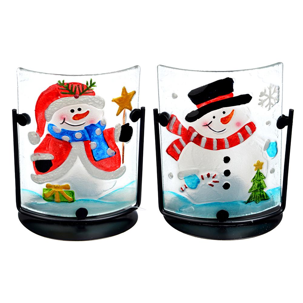 СНОУ БУМ Подсвечник, в виде Снеговика, стекло, металл, 13,5х10,5 см, 2 дизайна, арт 1