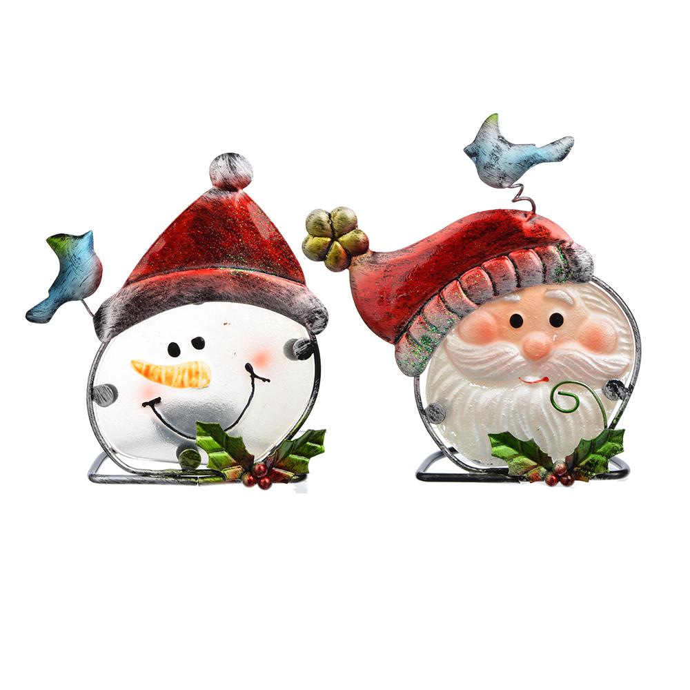 СНОУ БУМ Подсвечник, в виде Снеговика и Деда Мороза, стекло, металл, 14х10 см, 2 дизайна, арт 2