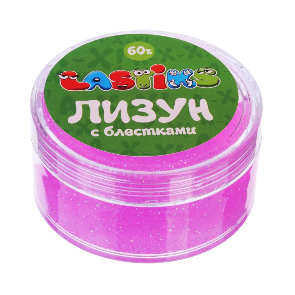 Лизун с блестками, полимер, 100гр, 7х7х3,7см, 3-4 цвета