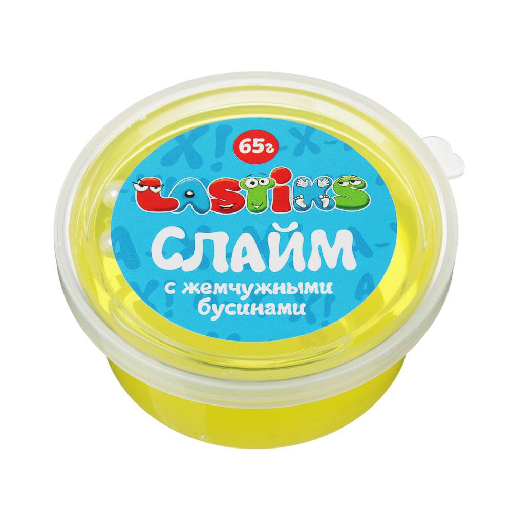 Слайм с жемчужными бусинами, 62-70гр, пластик, полимер, 6 цветов