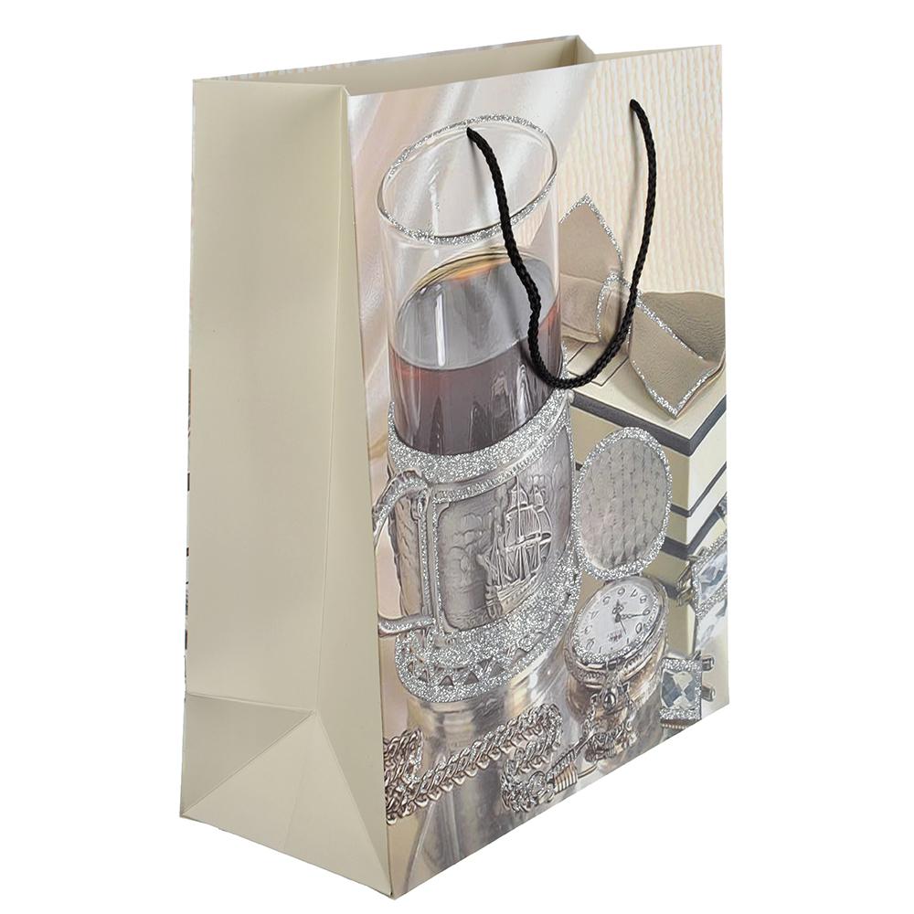 Пакет подарочный, 26х32х12 см, высококачественная бумага, с глиттером, 4 дизайна, арт 115