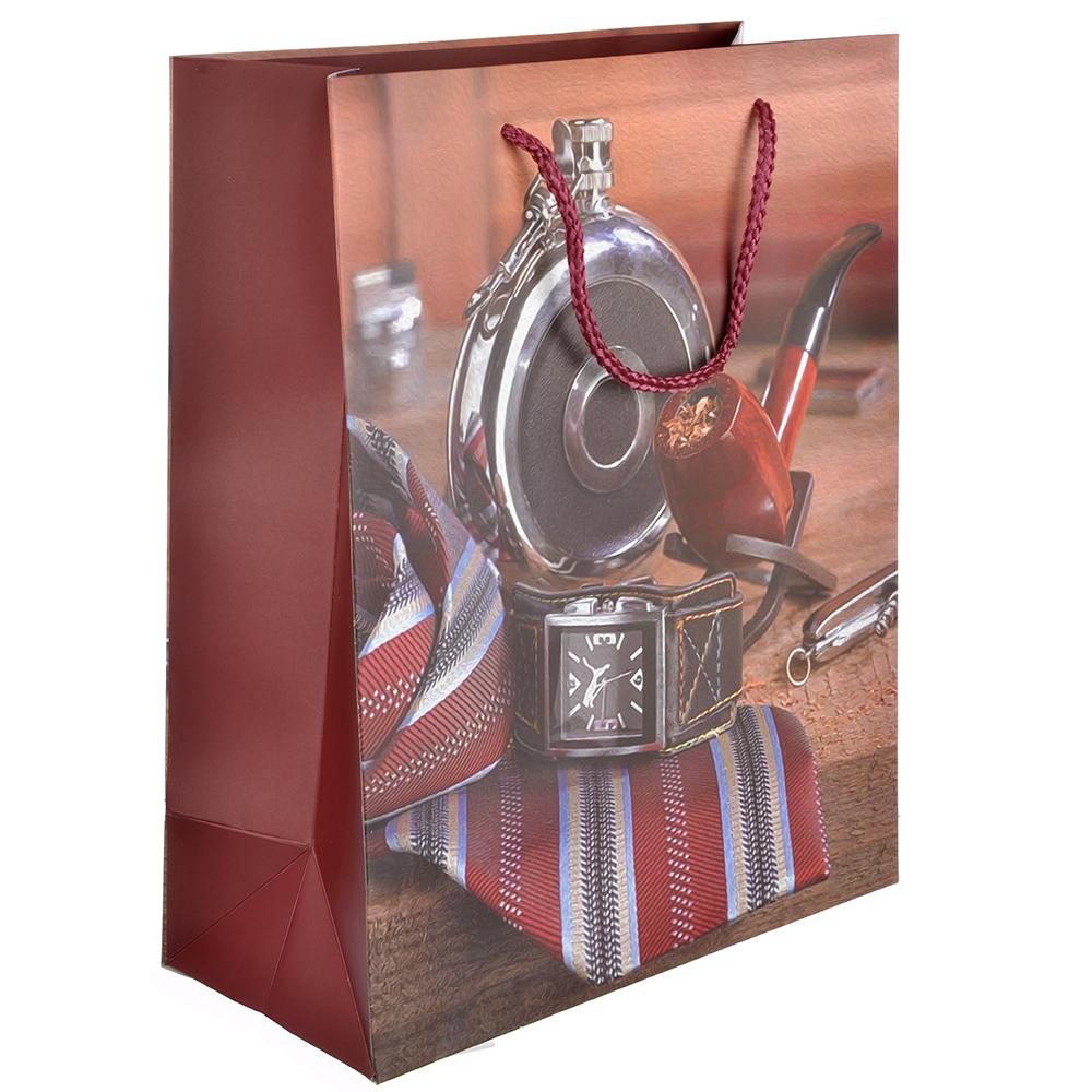 Пакет подарочный, 26х32х12 см, высококачественная бумага, 4 дизайна, арт 16