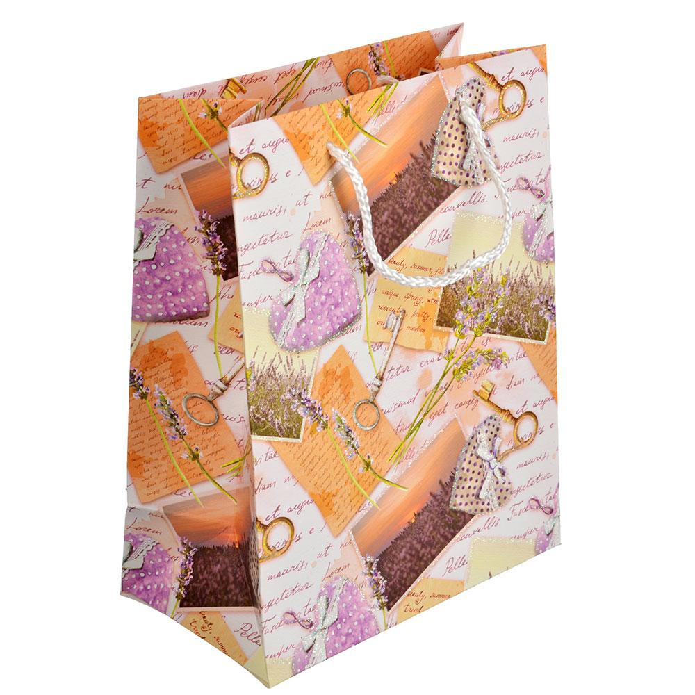 Пакет подарочный, 18х23х10см, высококачественная бумага, с глиттером, 4 дизайна, арт 117