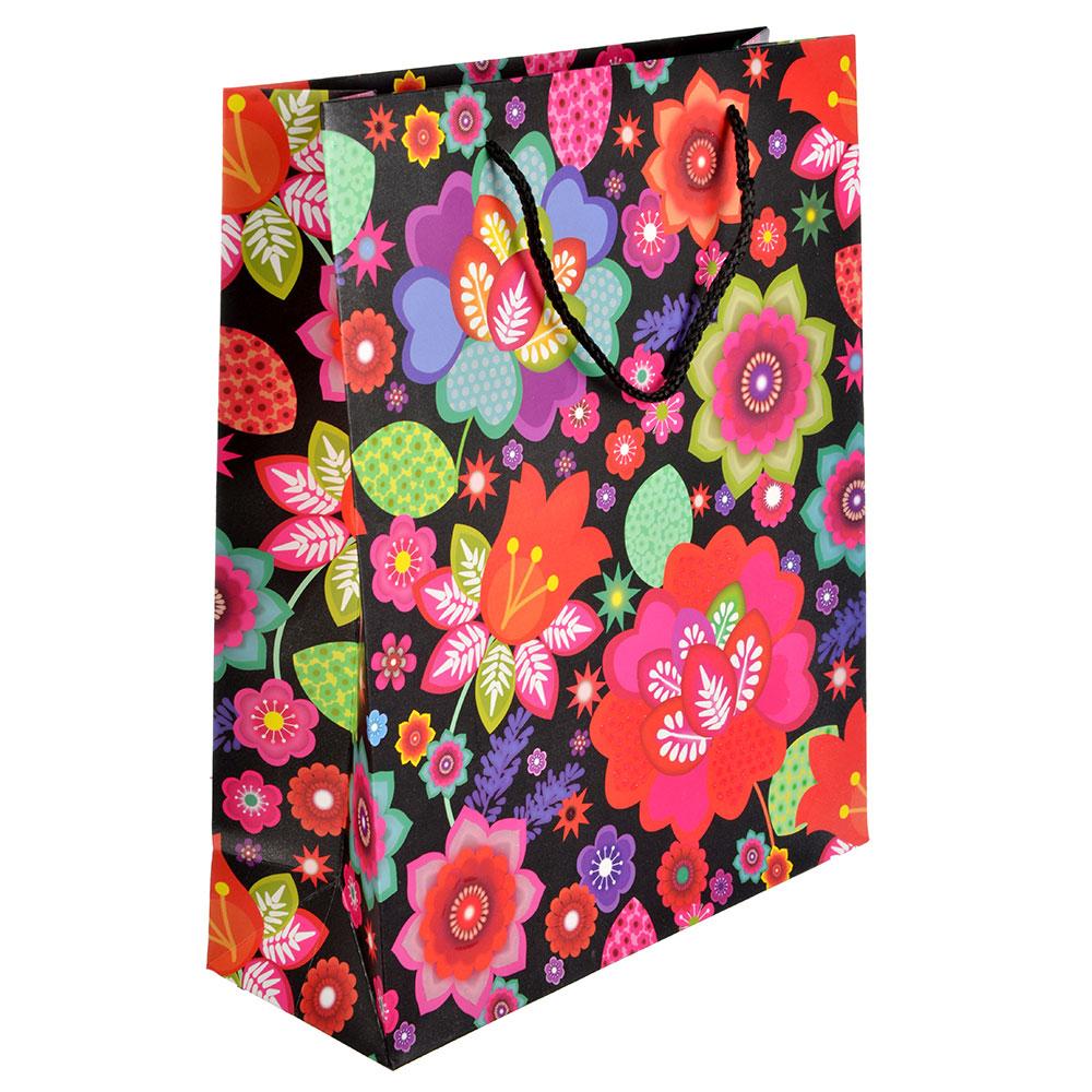 Пакет подарочный, 26х32х10 см, высококачественная бумага, с глиттером, 4 дизайна, арт 123