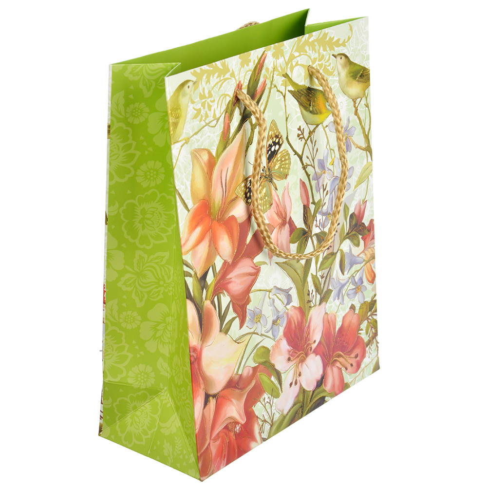 Пакет подарочный, 18х23х8 см, высококачественная бумага, с блеском, 4 дизайна, арт 125