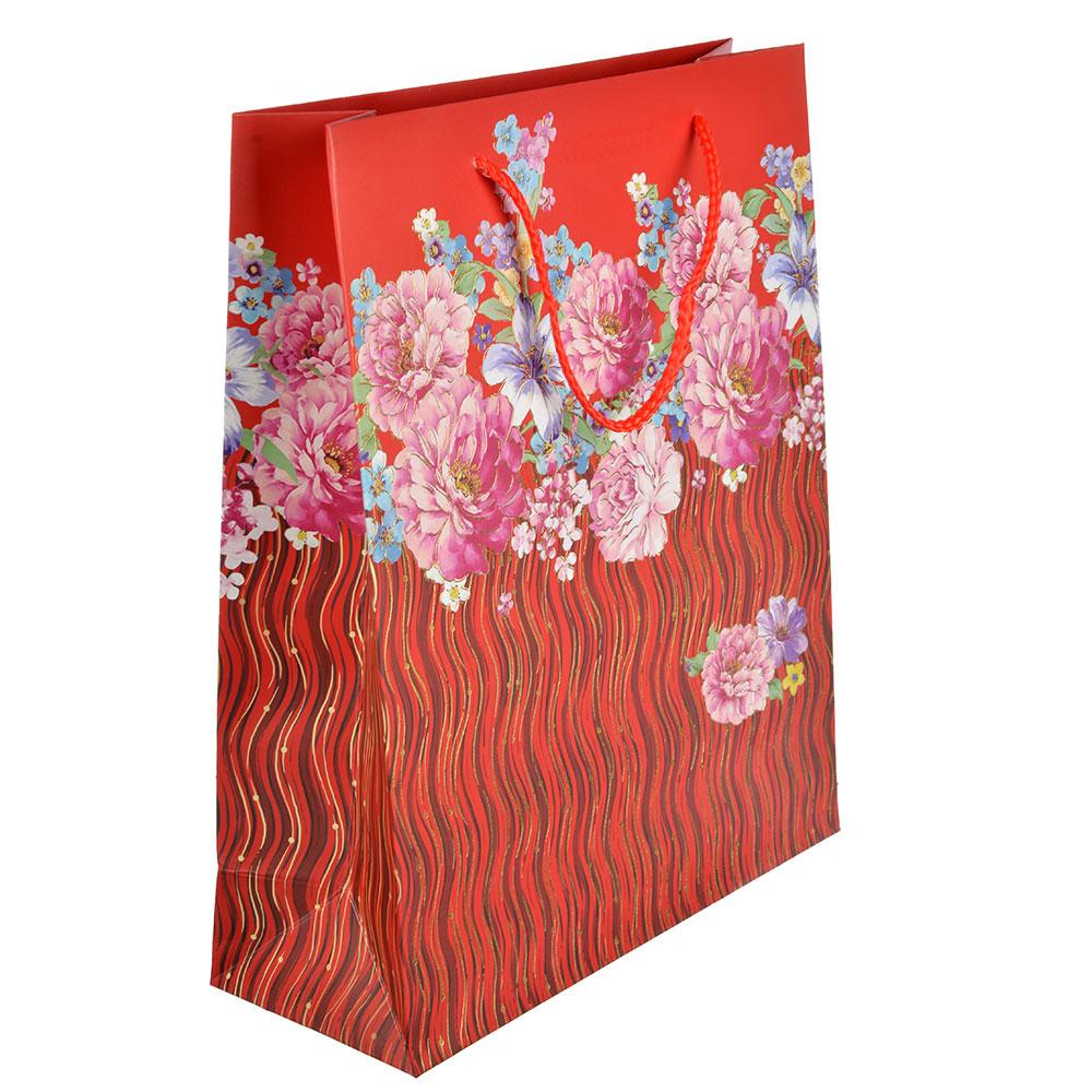 Пакет подарочный, 26х32х10 см, высококачественная бумага, с глиттером, 4 дизайна, арт 128
