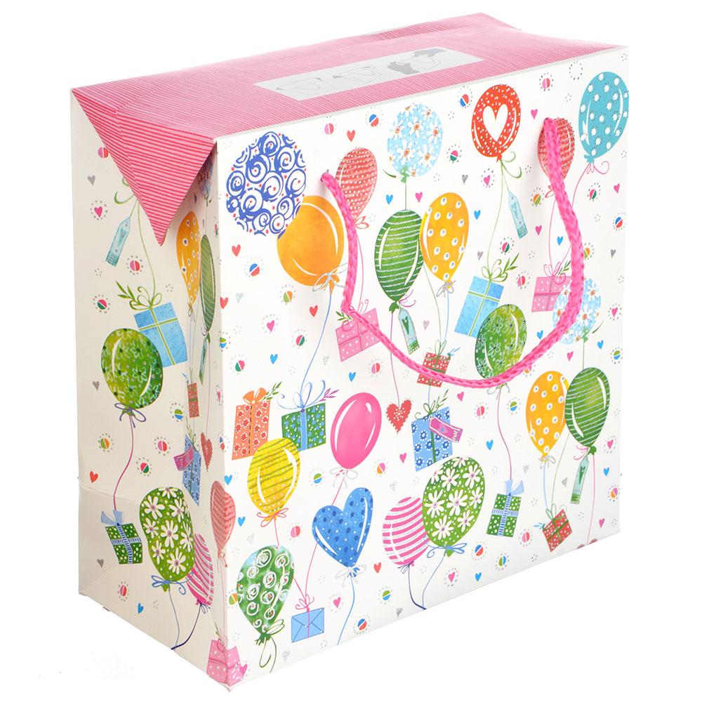 Пакет подарочный, 20,5х20,5х10 см, высококачественная бумага с блеском, 3 дизайна, арт 134
