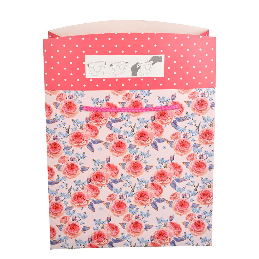 Пакет подарочный, 20,5х20,5х10 см, высококачественная бумага с блеском, 4 дизайна, арт 136