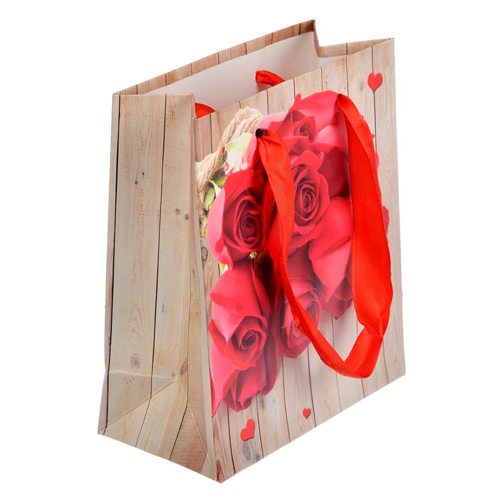 Пакет подарочный с цветами, 12х14х6 см, 12 дизайнов.