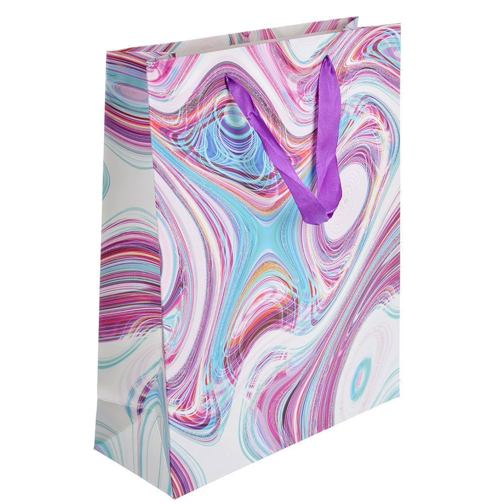 Пакет подарочный, 26х32х10 см, высококачественная бумага с глиттером, 4 дизайна, арт 137