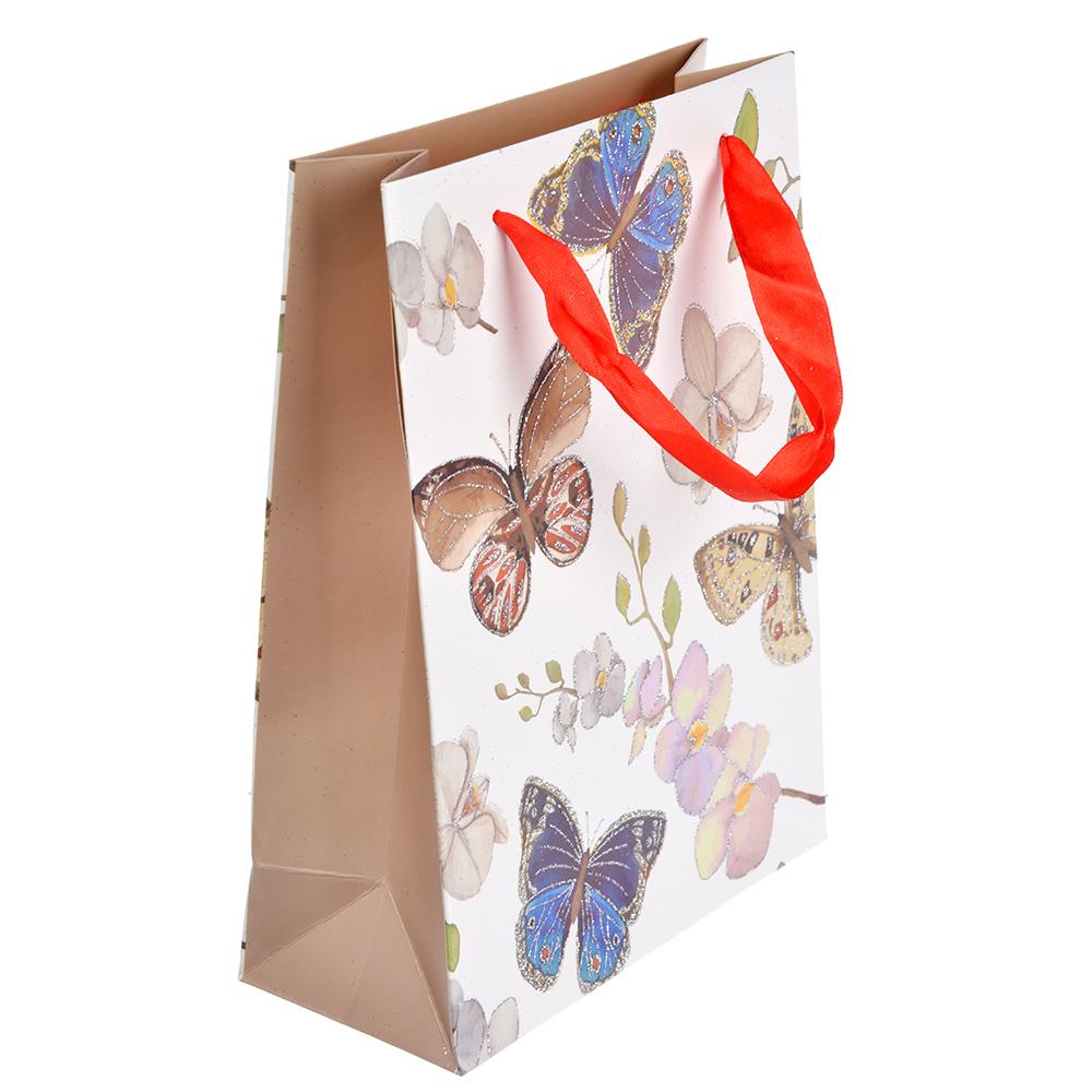 Пакет подарочный, 18х24х8 см, высококачественная бумага с глиттером, 4 дизайна, арт 141