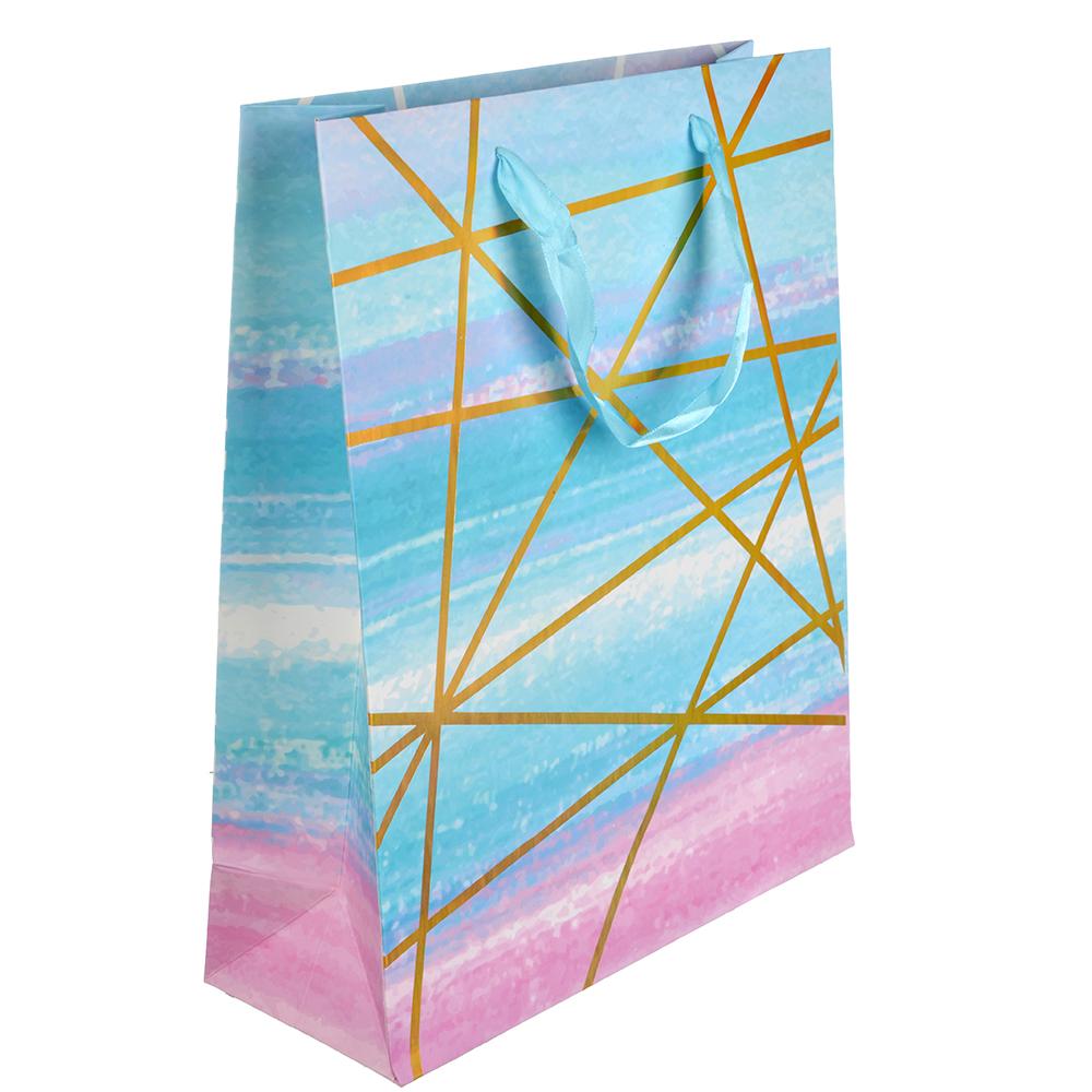Пакет подарочный, 26х32х10 см, высококачественная бумага с блеском, 4 дизайна, арт 144