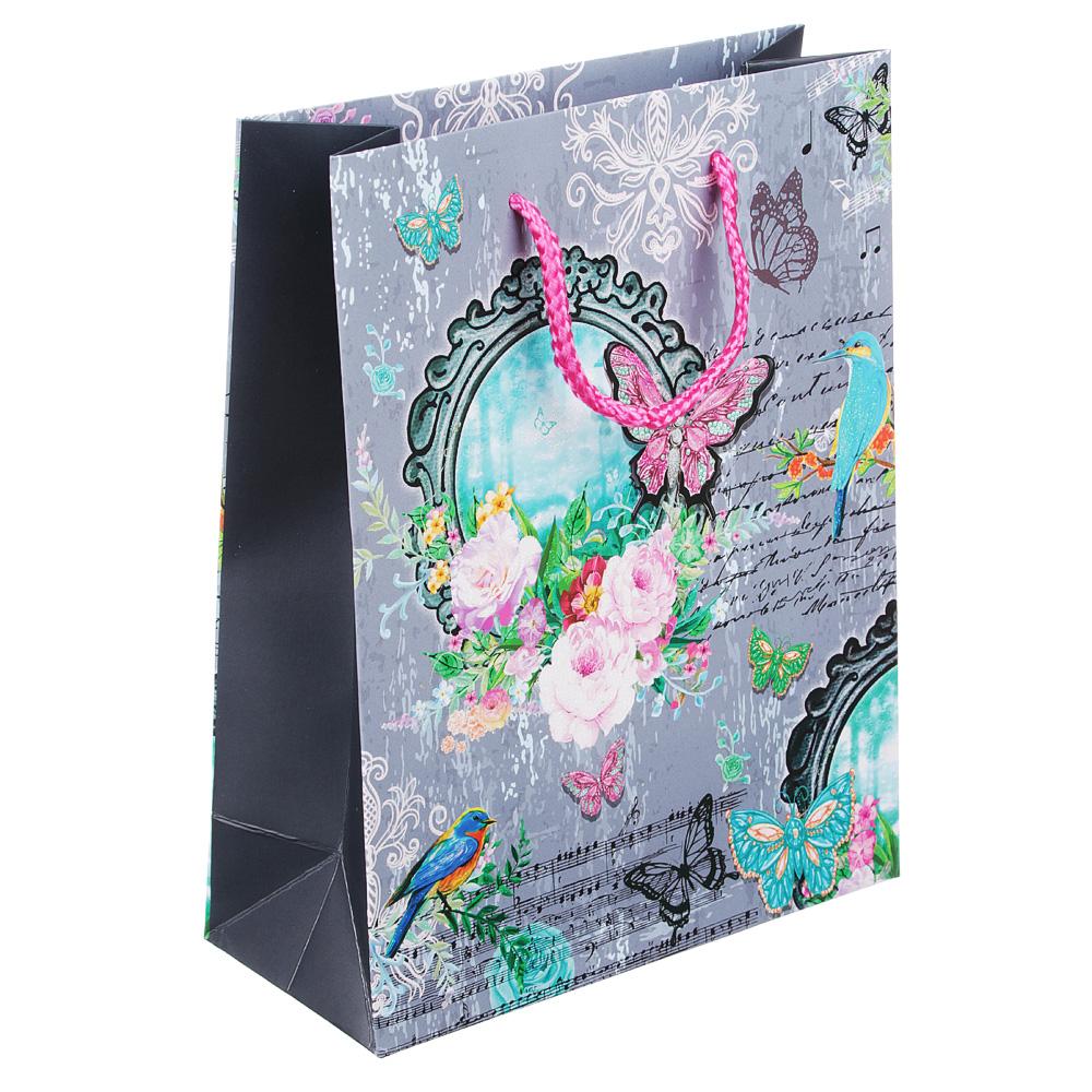 Пакет подарочный, 18х24х8 см, высококачественная бумага с блеском, 4 дизайна, арт 145