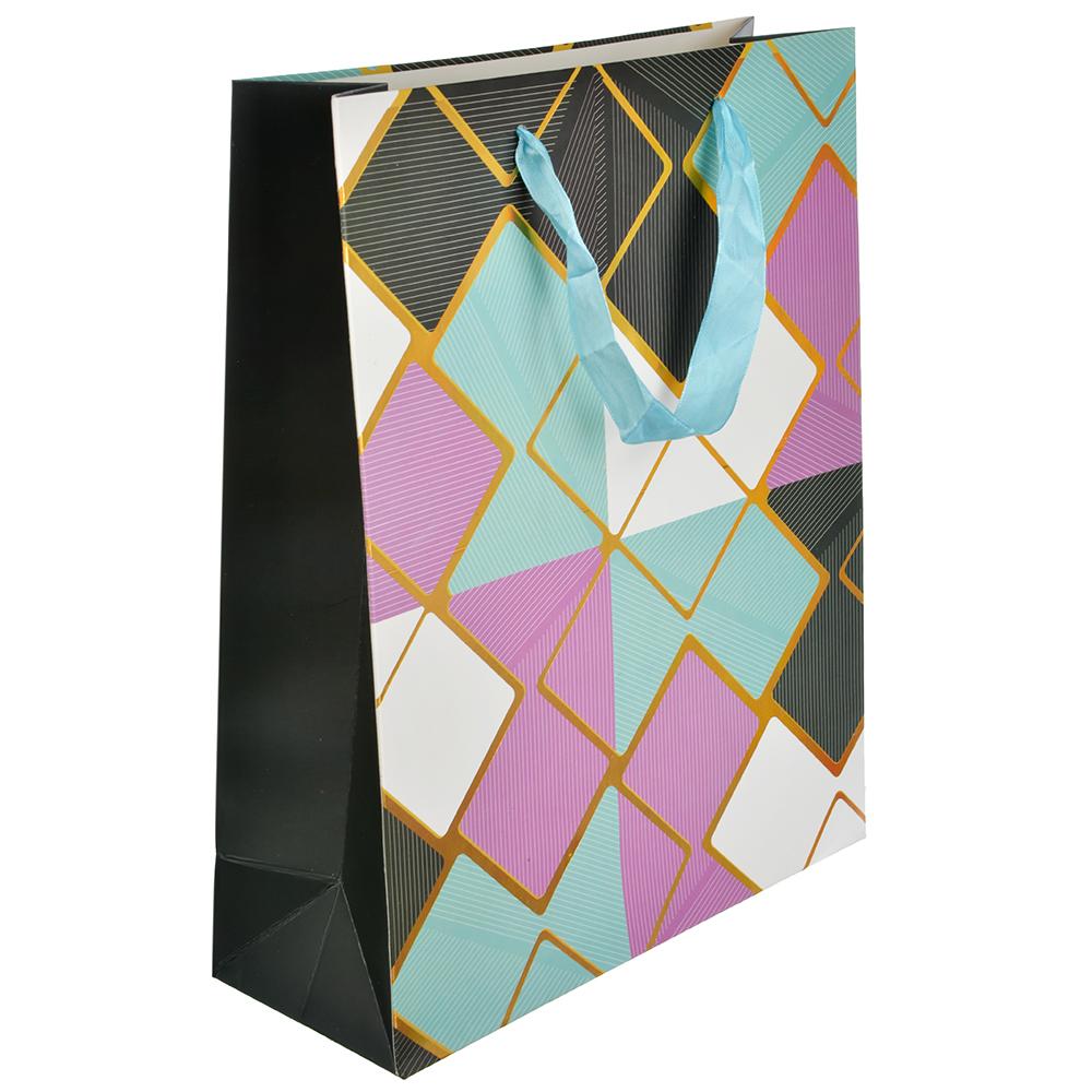 Пакет подарочный, 26х32х10 см, высококачественная бумага с блеском, 4 дизайна, арт 146