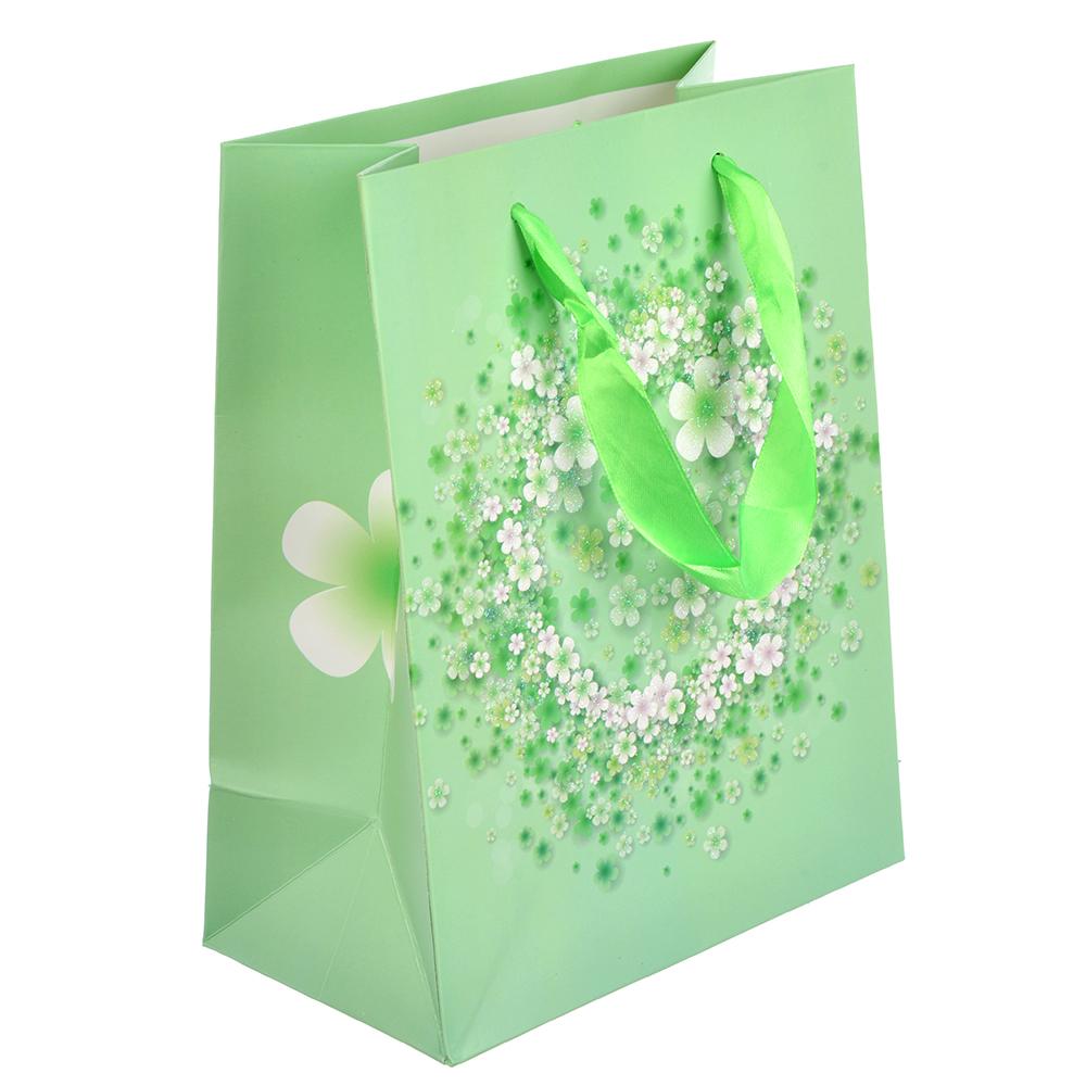 Пакет подарочный, 18х24х8 см, высококачественная бумага с блеском, 4 дизайна, арт 148