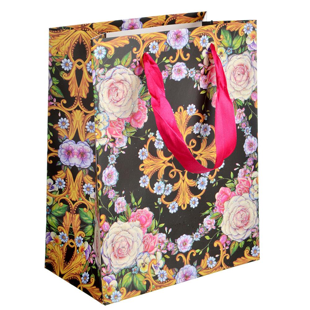 Пакет подарочный, 18х24х8 см, высококачественная бумага с блеском, 4 дизайна, арт 150