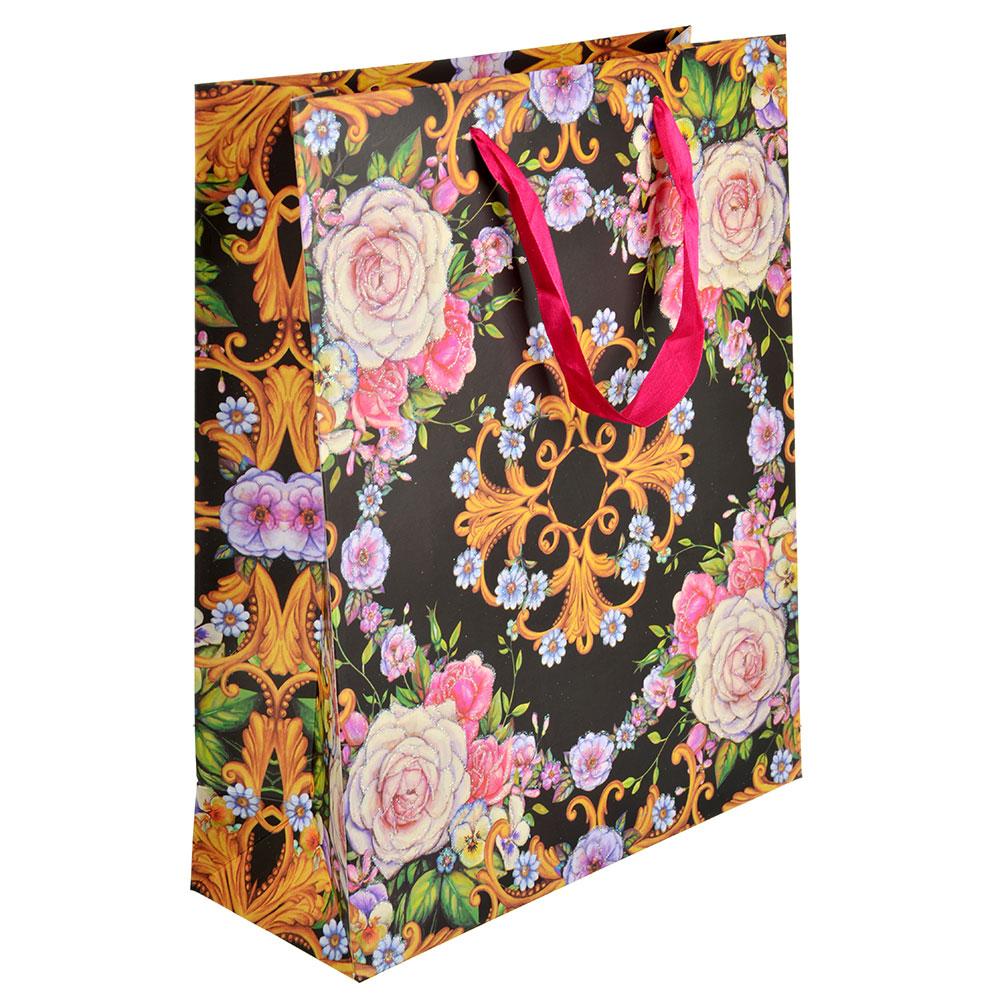 Пакет подарочный, 26х32х10 см, высококачественная бумага с блеском, 4 дизайна, арт 151