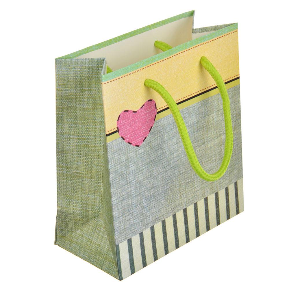 Пакет подарочный, 14х15,5х7 см, высококачественная бумага, 4 дизайна, арт 153