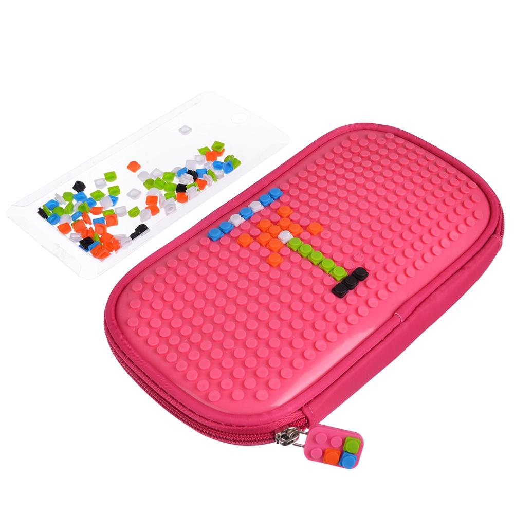Сумка-пенал с пикселями для творчества, полиэстер, силикон, 21,5х11,5х2см, 4 цвета