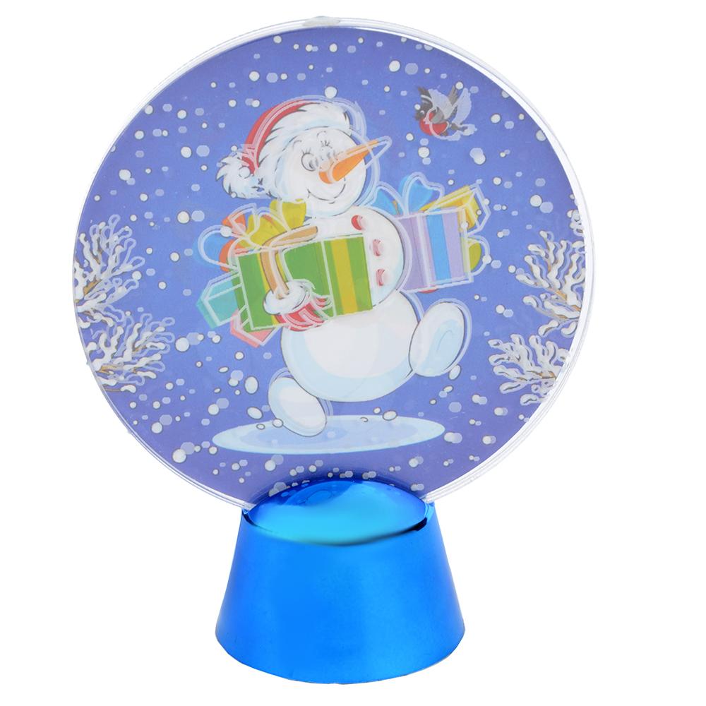 СНОУ БУМ Светильник LED Голография Снеговик, h=11см, (от батареек)
