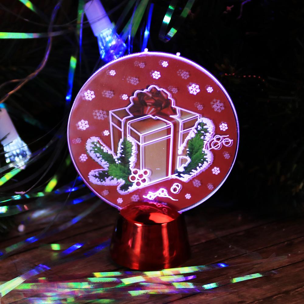 СНОУ БУМ Светильник LED Голография Подарок, h=11см, (от батареек)