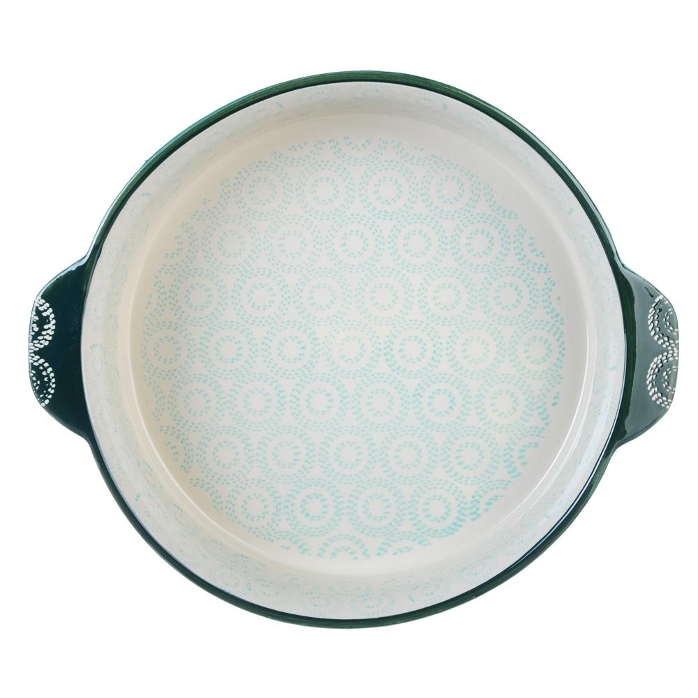 MILLIMI Форма для запекания и сервировки круглая с ручками, керамика, 25х6см, бирюзовый