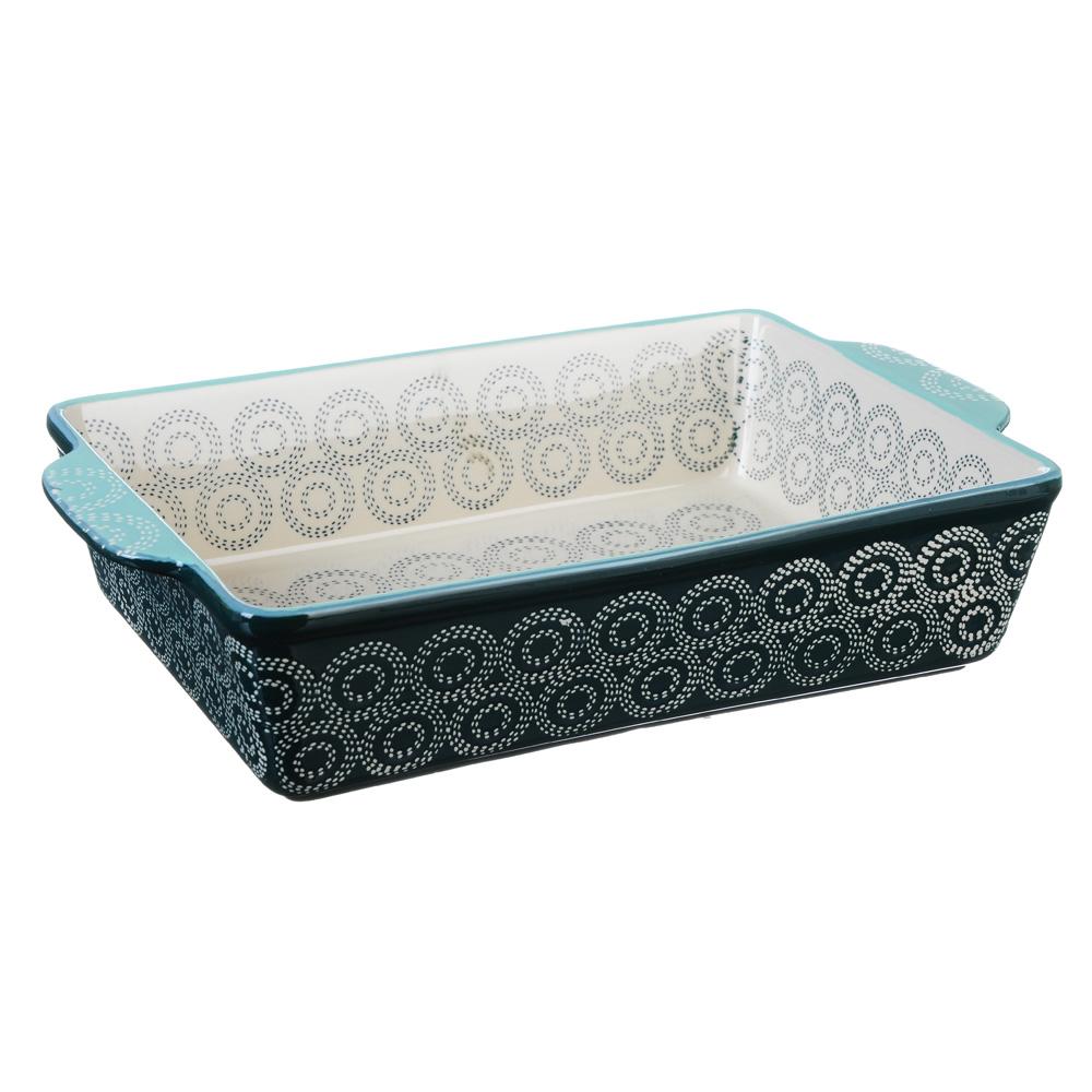 MILLIMI Форма для запекания и сервировки прямоугольная с ручками, керамика, 31х20х6,5см, аквамарин