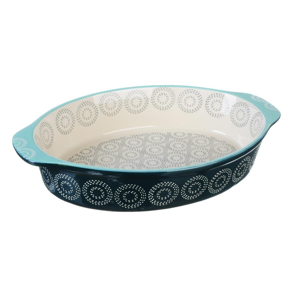 MILLIMI Форма для запекания овальная с ручками, керамика, 32х21х6см, аквамарин