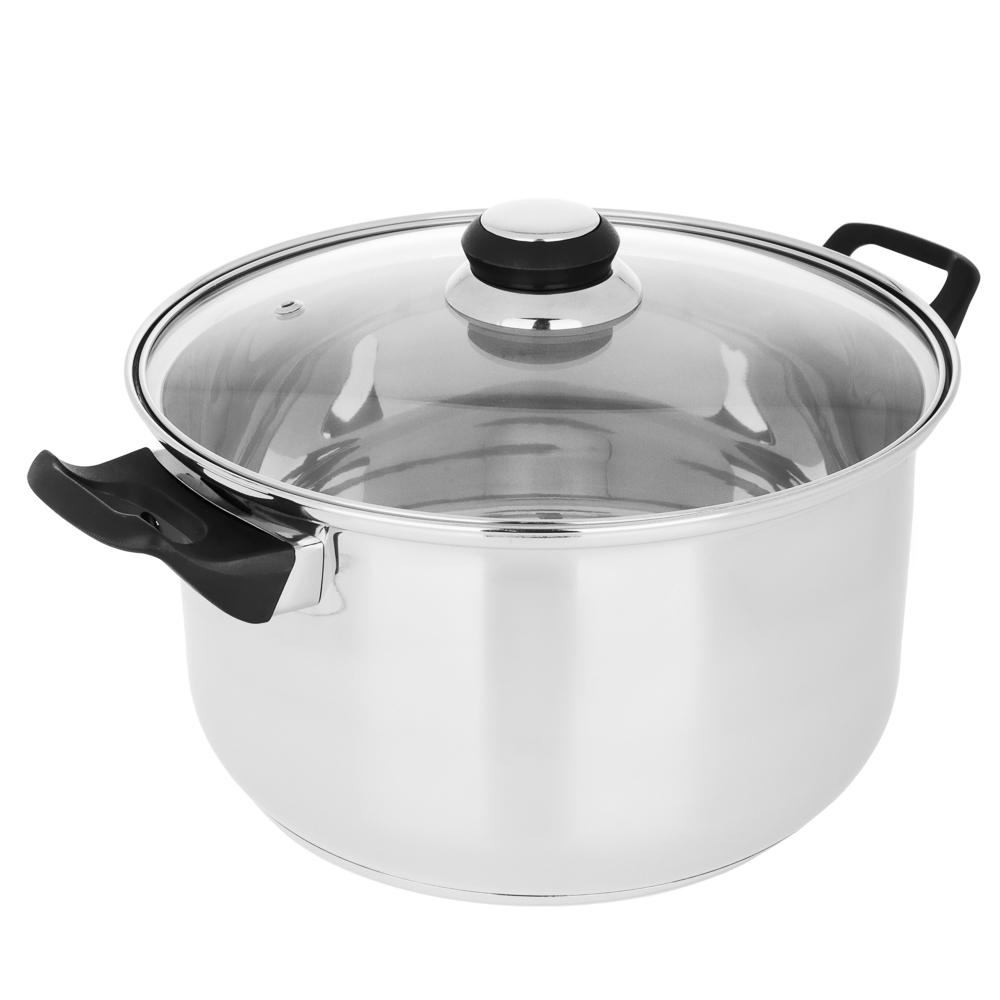 Кастрюля 5,4 л Стрейтон, нержавейка, стеклянная крышка