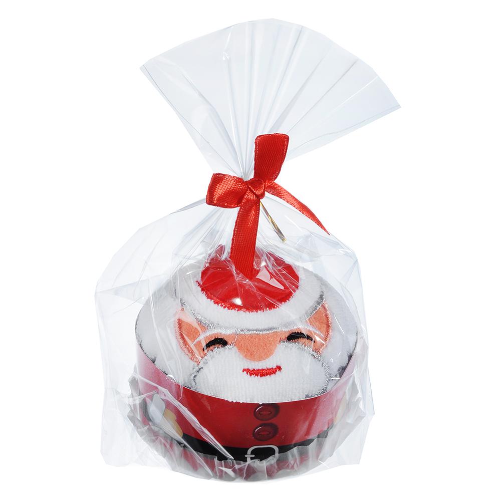 Полотенце подарочное с вышивкой, микрофибра, 30х30 см, с Дедом Морозом и Снеговиком, 8,5х6,5 см
