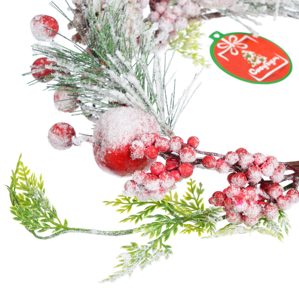 СНОУ БУМ Украшение декоративное, пластик, в виде венка, со снегом, 33 см