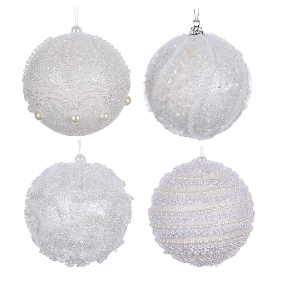 """СНОУ БУМ Подвеска шар """"Жемчужный"""" 8 см, пластик, 4 дизайна, белый"""