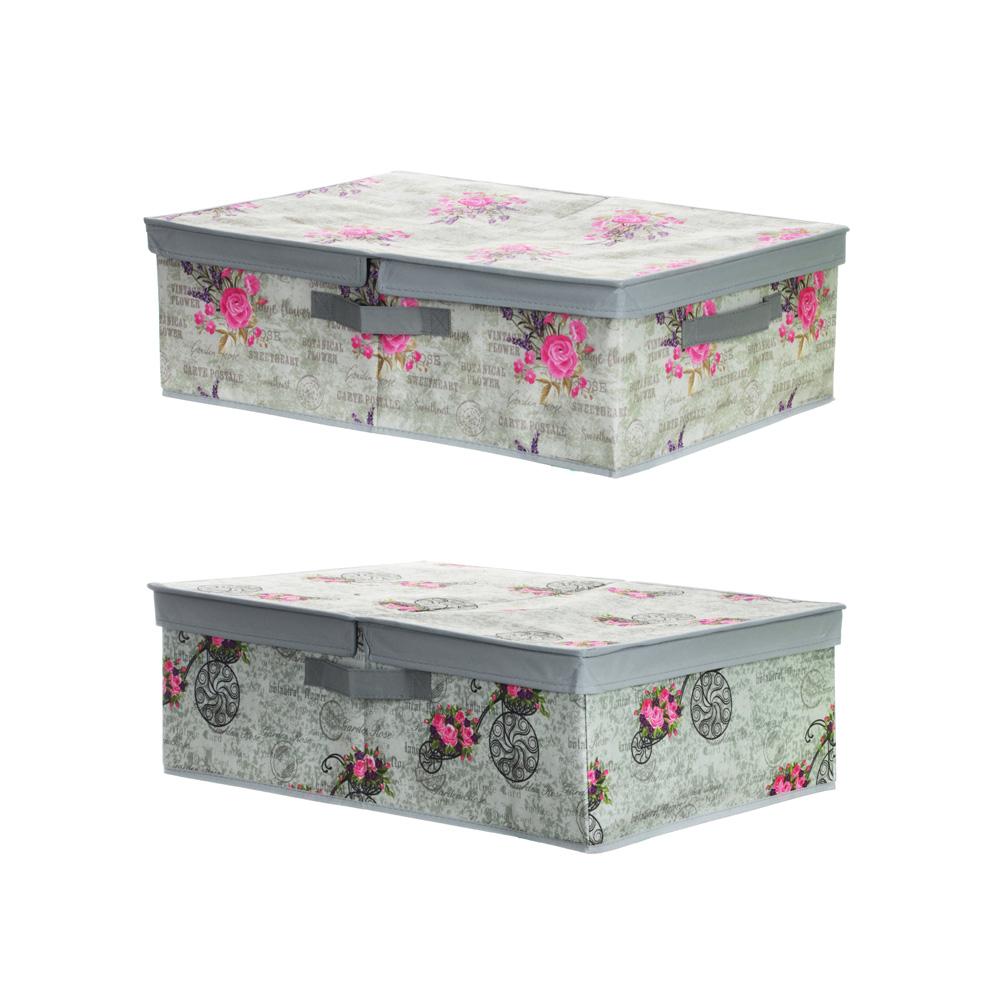 """Короб для хранения VETTA """"Прованс"""" с двойной крышкой, 40х58х18 см, 2 дизайна"""