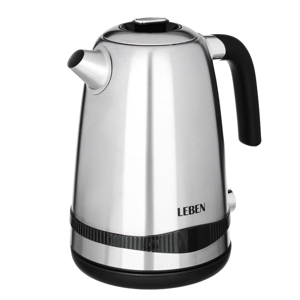 LEBEN Чайник электрический 1,8л, 1500Вт, скрыт. нагр.элемент, автооткл., стекло, 3 цвета, подсветка