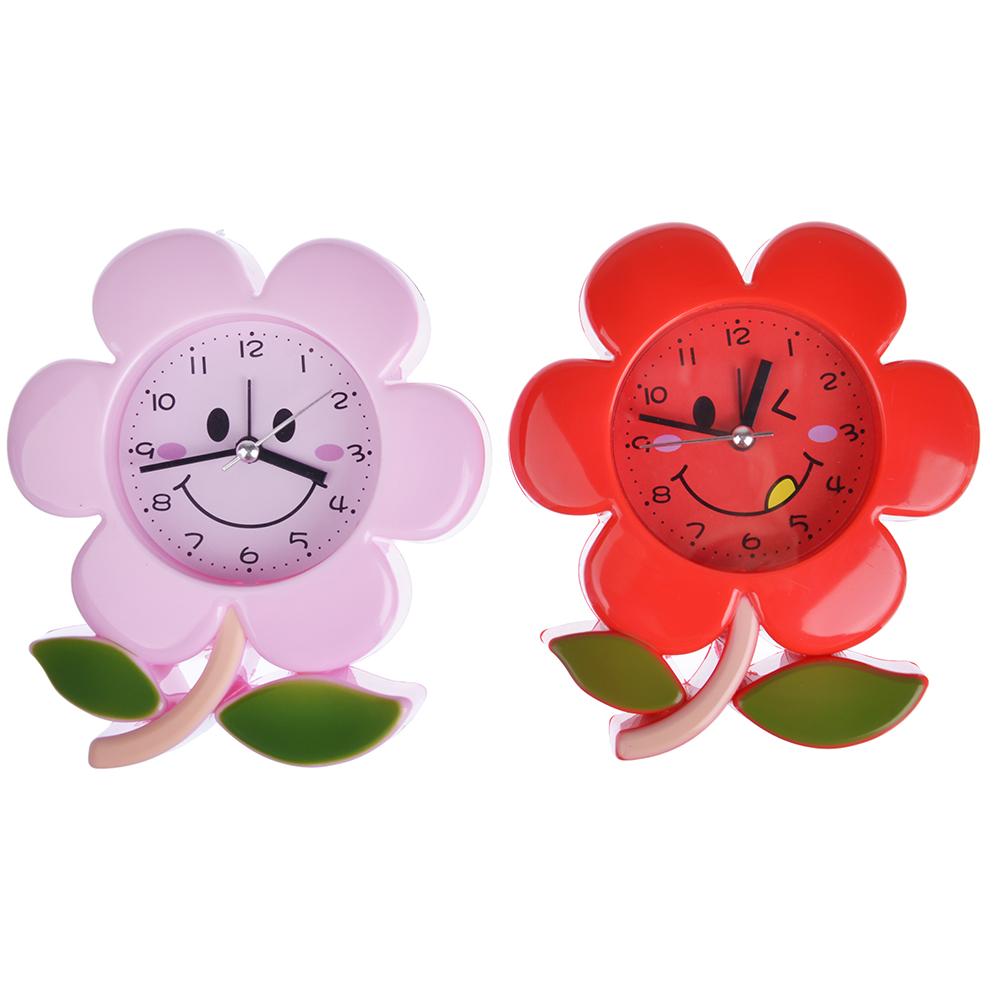 Будильник электронный в виде цветка, пластик, 13,7х12,3х4,1 см, 1 хАА, 2 цвета