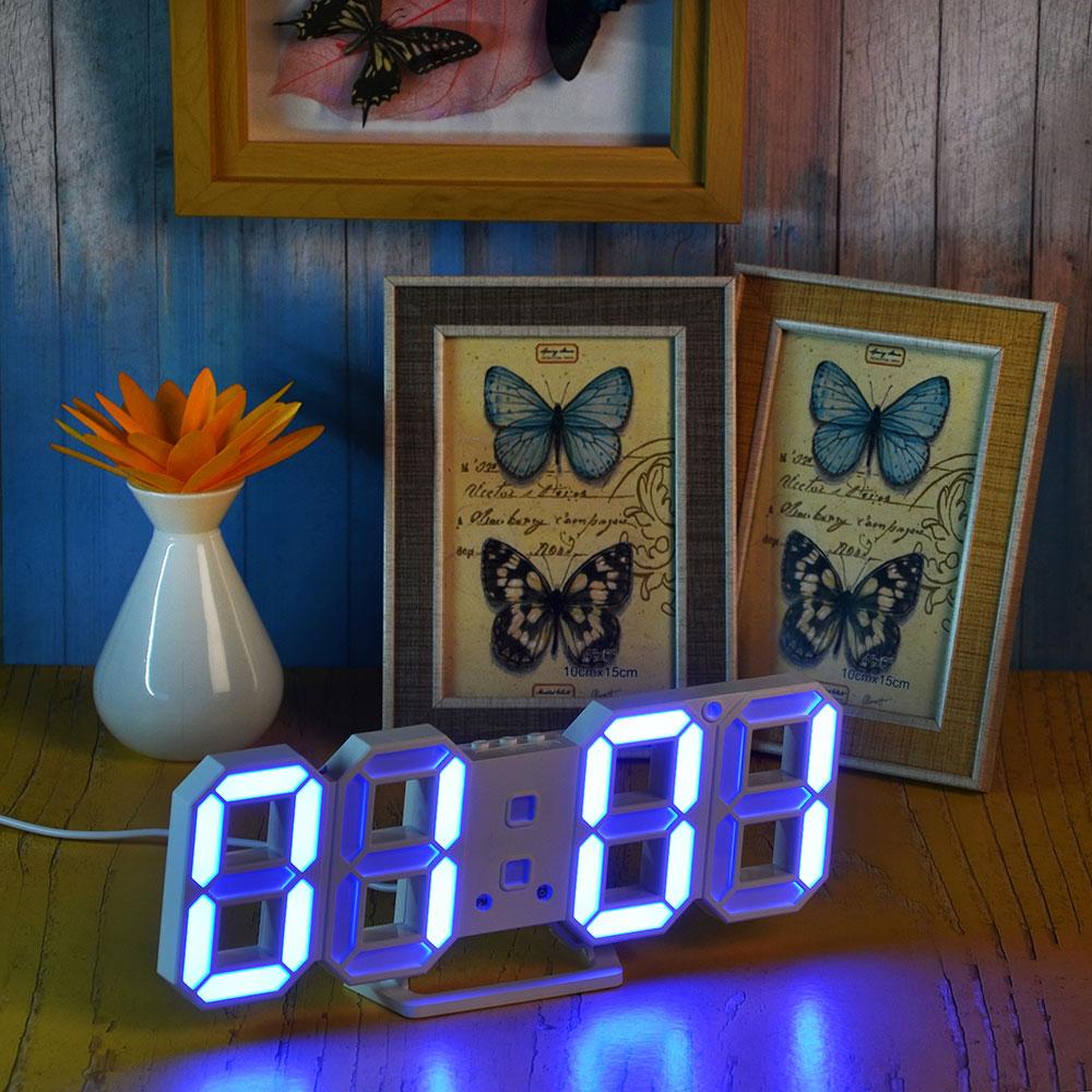 Часы электронные, пластик, 24х9х4 см, питание USB, CR 2032, голубой