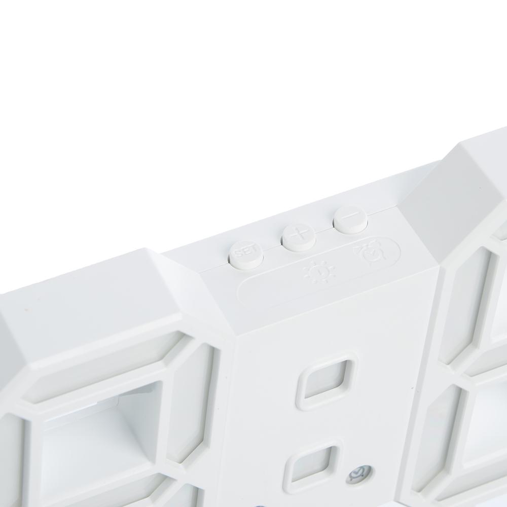 Часы электронные, пластик, 24х9х4 см, питание USB, CR 2032, белый