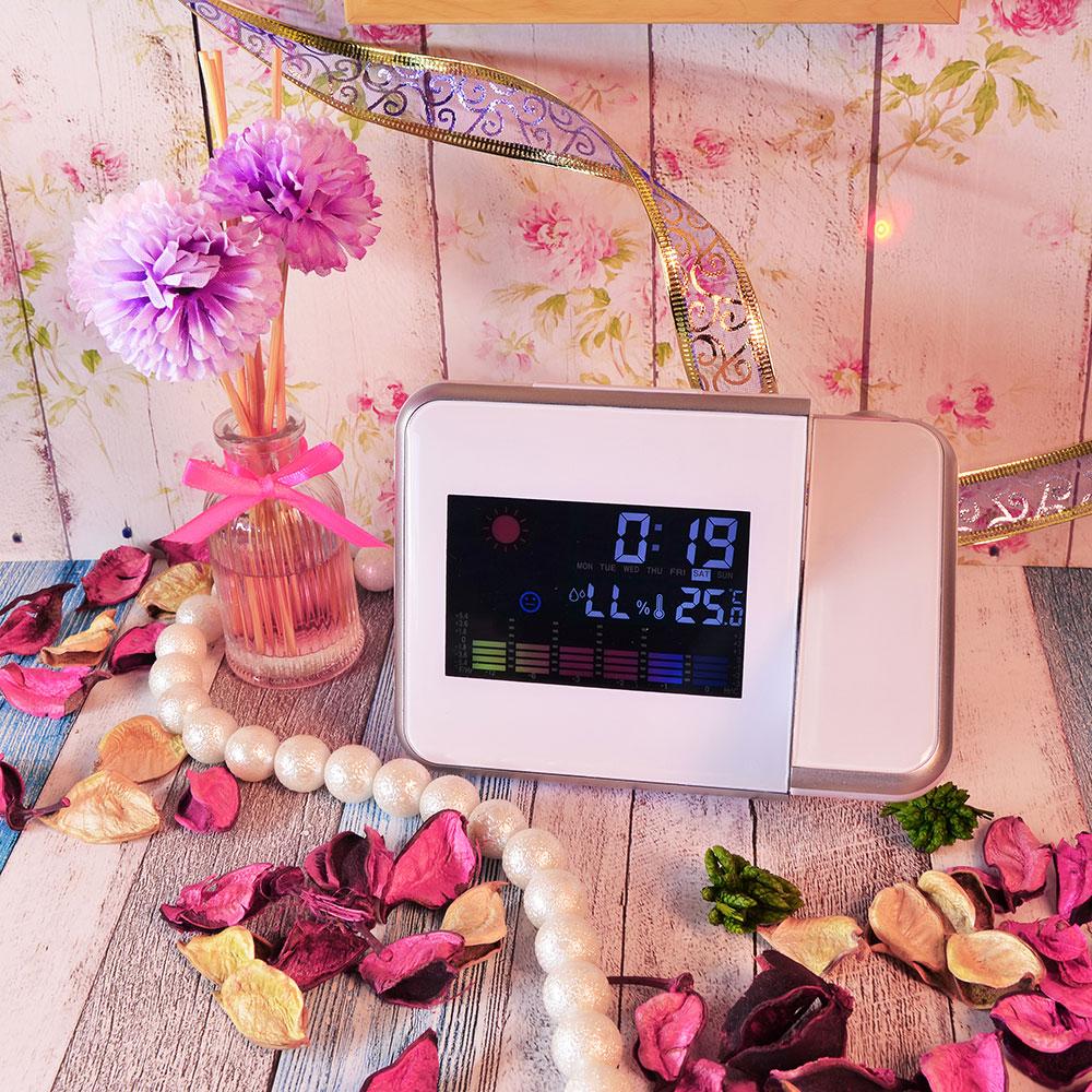 Проекционные часы-будильник, пластик, 15х11х2,7 см, 2хААA, 2 цвета