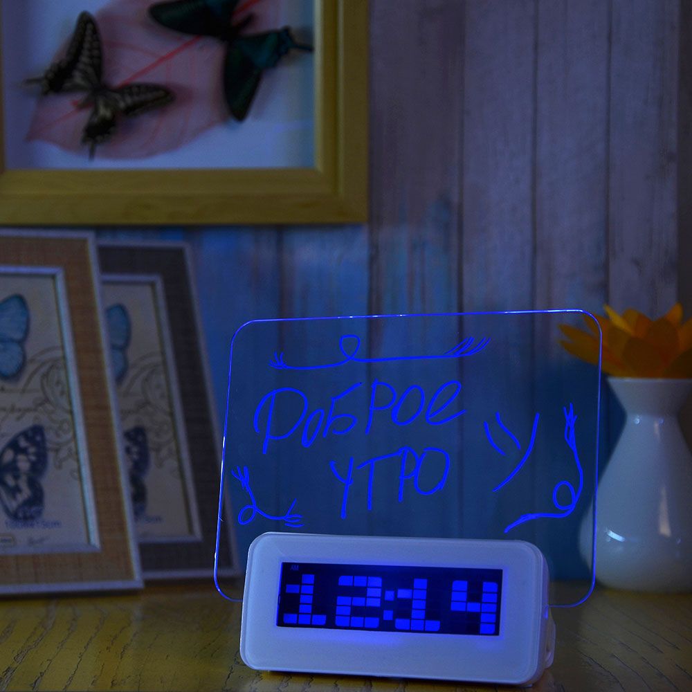 Часы-будильник с табло для записей, с маркером, пластик, 13,5х14,3х6,8 см, USB, 3хААА
