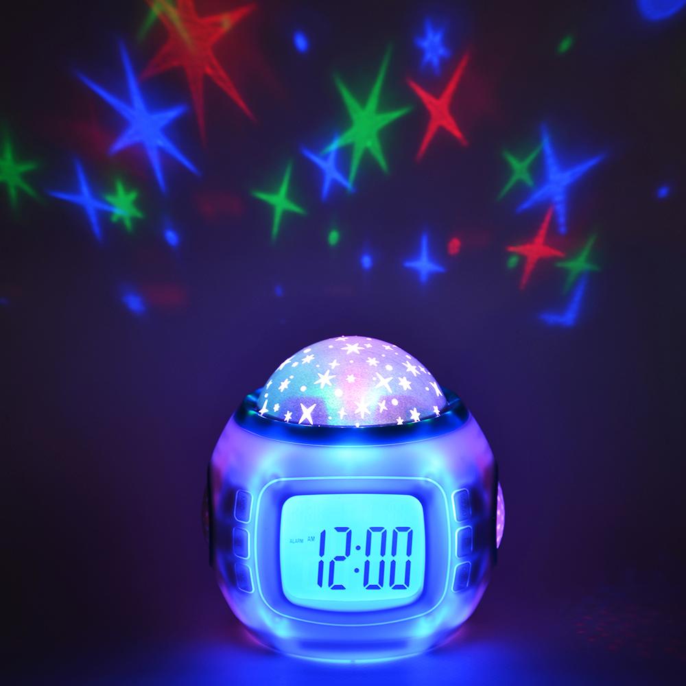 Часы-будильник с проектором звездного неба, пластик, 10,4х8,8х10,3 см, 3хААА