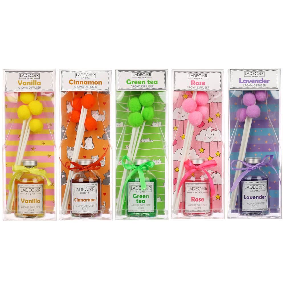 LADECOR Аромадиффузор с палочками и декором, 50мл, ароматы лаванды/корицы/розы/ванили/зеленого чая