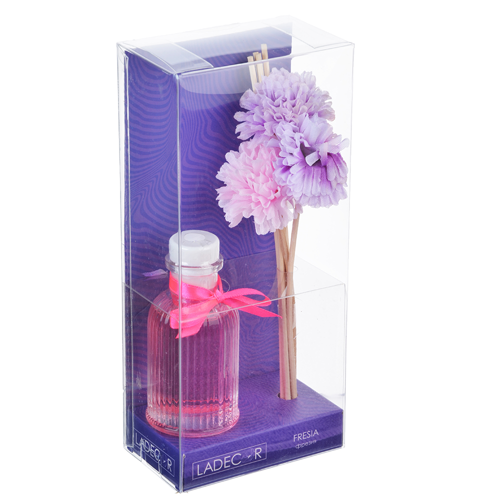 LADECOR Ароманабор 50мл с декором, с ароматами фрезии, цветочного сада, орхидеи, фиалки