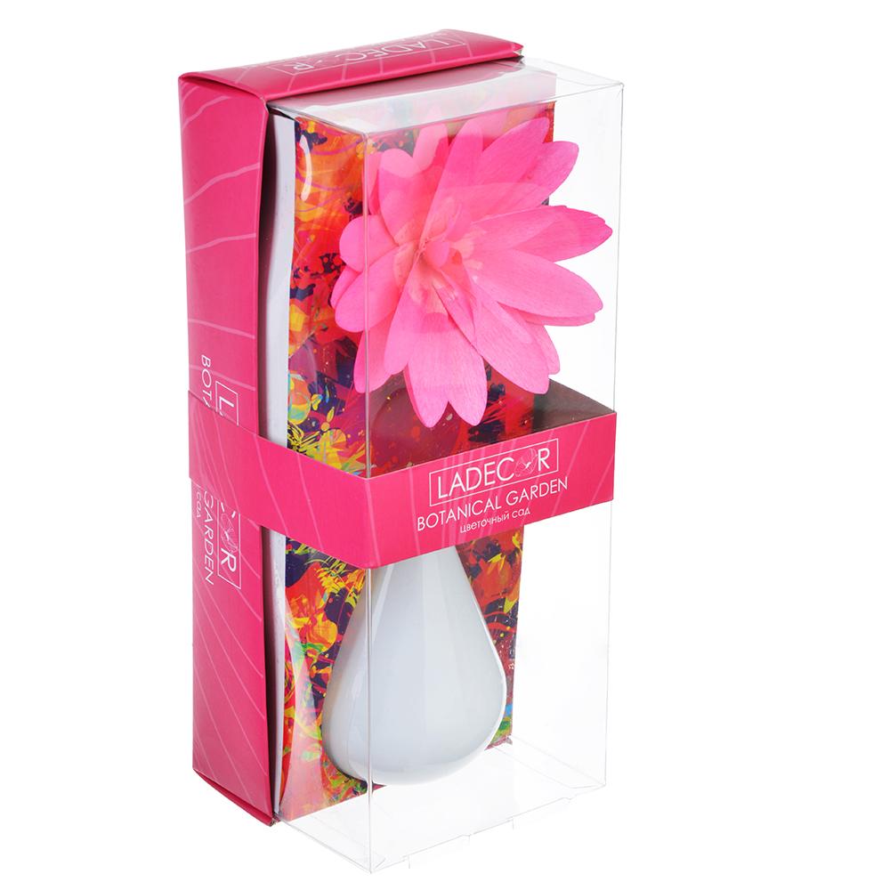LADECOR Ароманабор 80мл с керамич. диффузором и декором, с ароматами фиалки, орхидеи, фрезии, сада