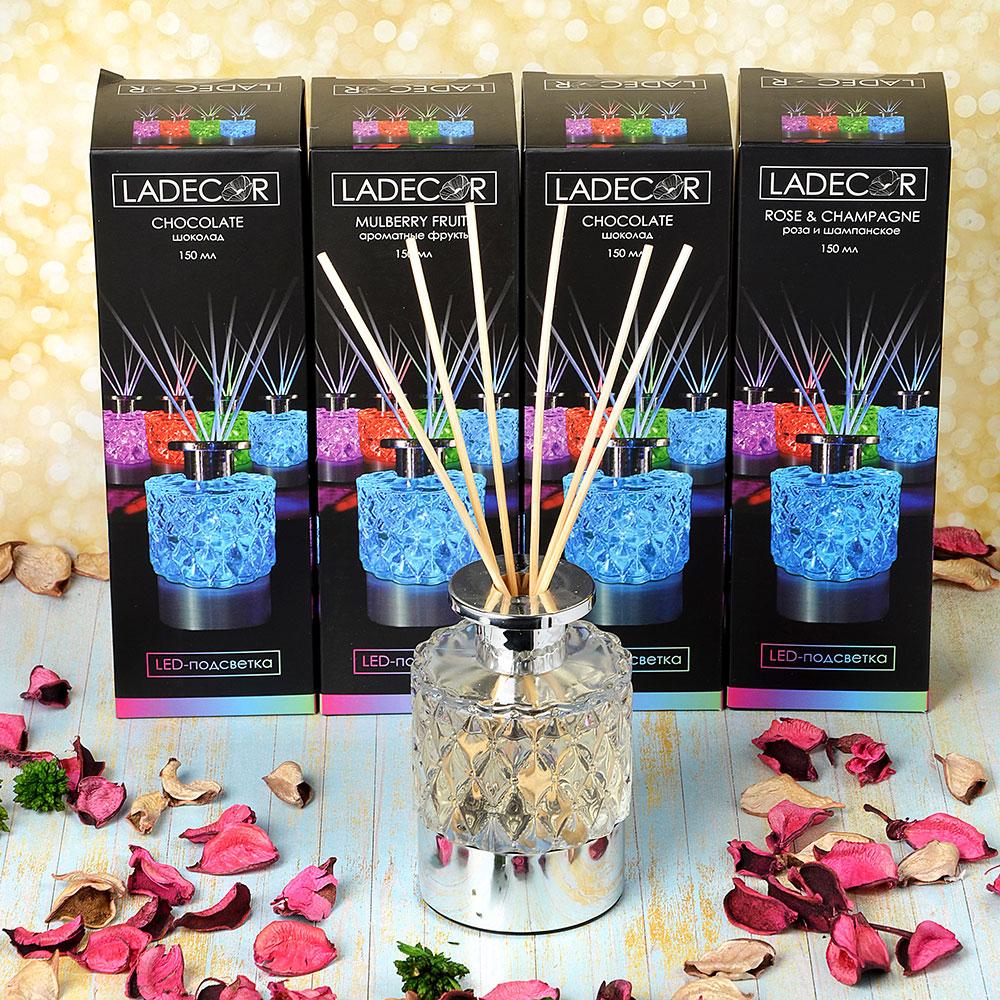 LADECOR Ароманабор 150мл с палочками и LED подсветкой, 4 аромата, 1 х CR2032, 7 режимов свечения